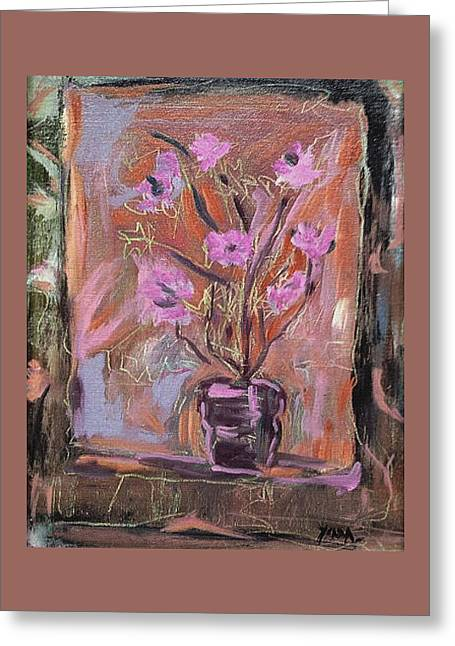 Purple Flowers In Vase Greeting Card