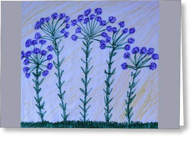 Purple Flowers On Long Stems Greeting Card
