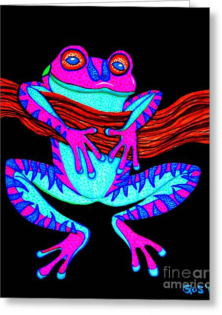 Purple Frog Hanging On Greeting Card by Nick Gustafson