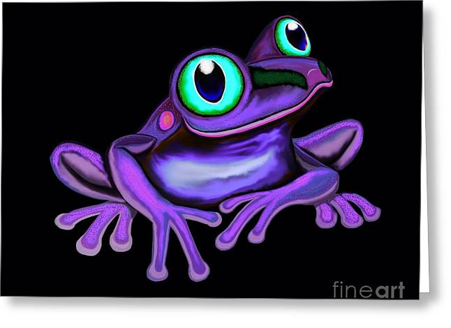 Greeting Card featuring the painting Purple Frog  by Nick Gustafson