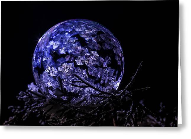 Purple Frozen Bubble Art Greeting Card
