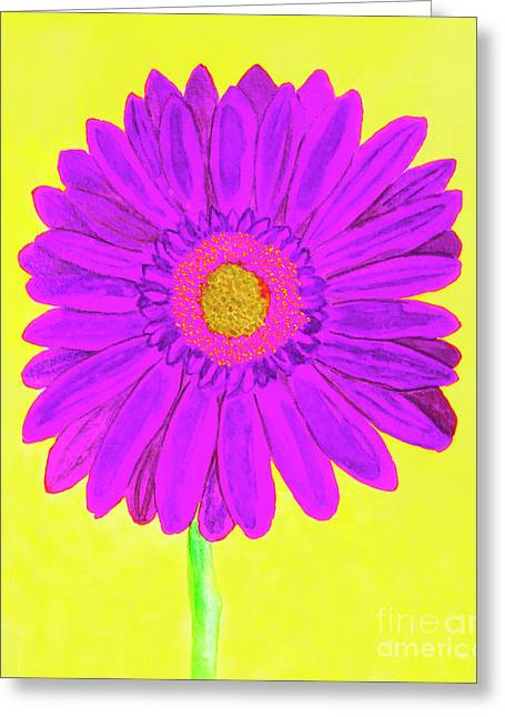 Purple  Gerbera On Yellow, Watercolor Greeting Card