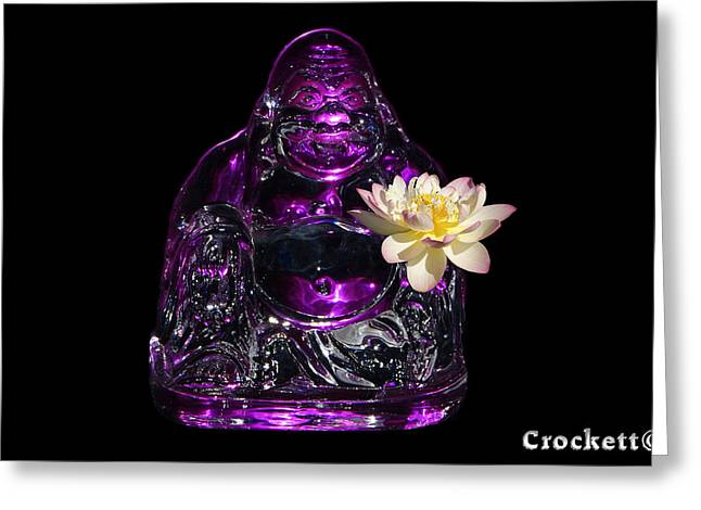 Greeting Card featuring the photograph Purple Glass Buddah With Yellow Lotus Flower by Gary Crockett