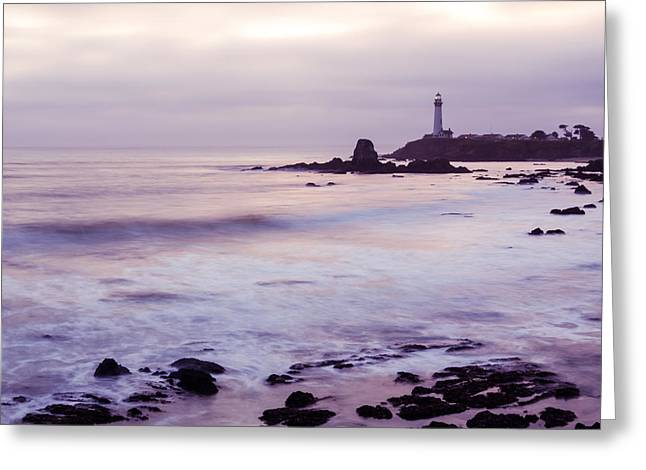 Purple Glow At Pigeon Point Lighthouse Alternate Crop Greeting Card