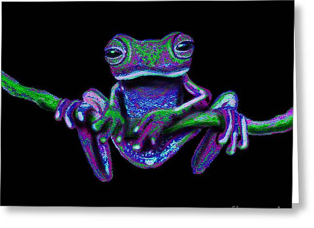 Purple Green Ghost Frog Greeting Card by Nick Gustafson