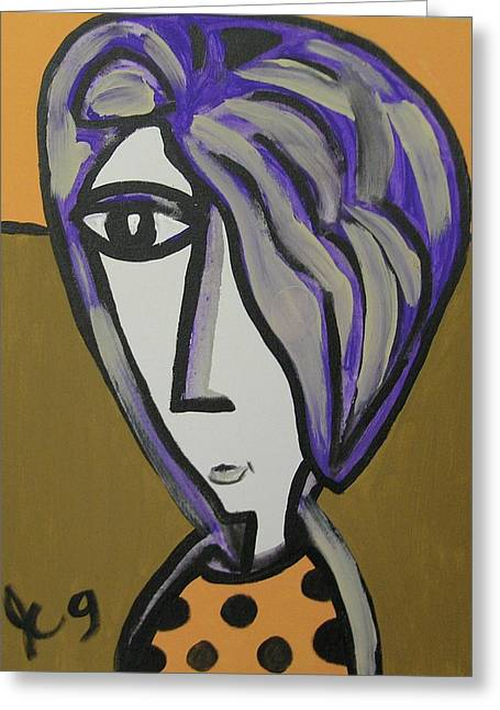 Purple Hair Gets In My Eyes Greeting Card by Jimmy King