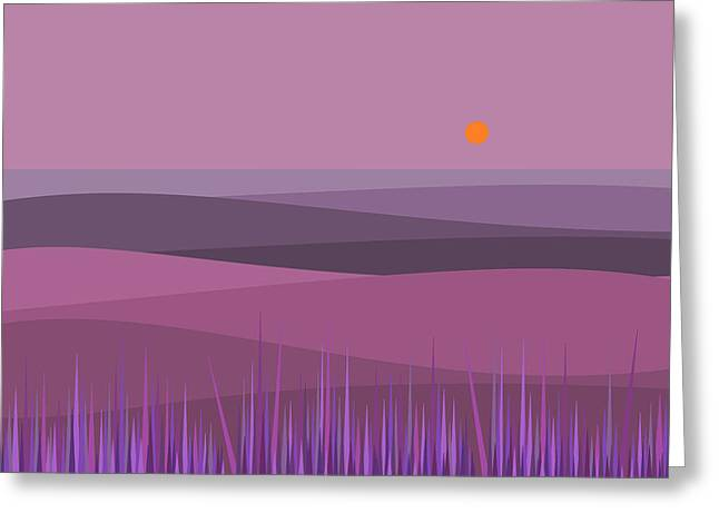 Purple Haze And Orange Sun Greeting Card by Val Arie