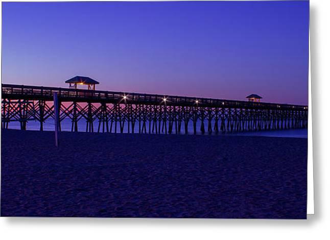 Purple Haze Folly Beach Pier Sunrise Charleston Sc Greeting Card by Reid Callaway