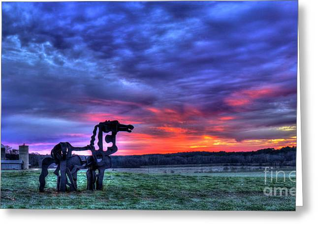 Purple Haze Sunrise The Iron Horse Greeting Card