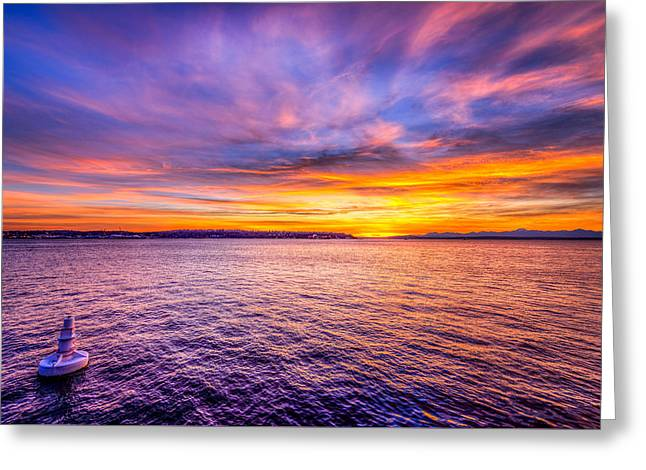 Purple Haze Sunset Greeting Card by Spencer McDonald
