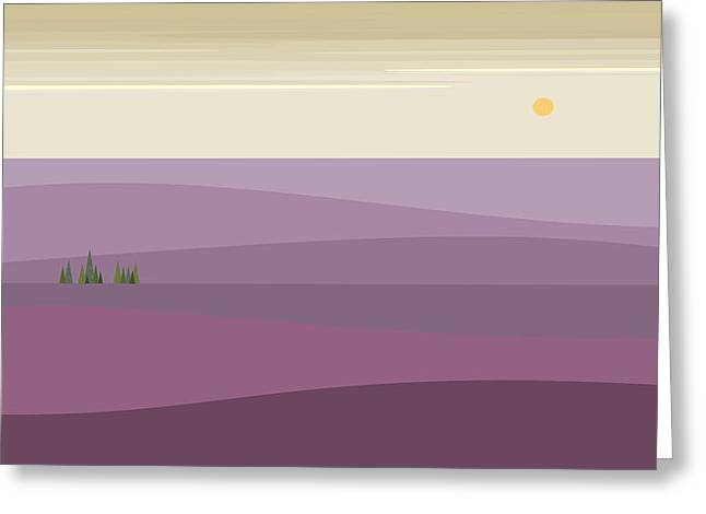 Purple Hilly Landscape Greeting Card