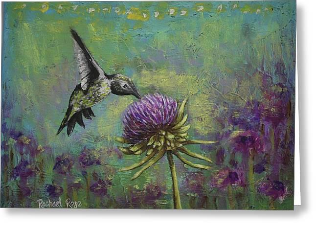 Purple Hummingbird Haze Greeting Card by Rachael Rose Zoller