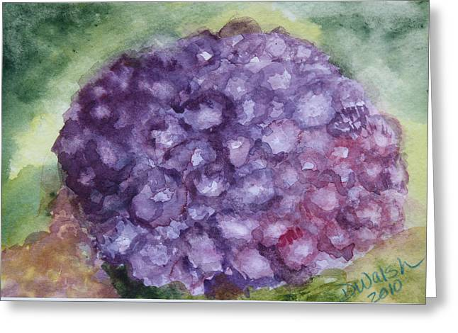 Greeting Card featuring the painting Purple Hydrangea by Donna Walsh