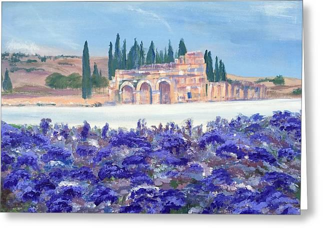 Purple Hydrangeas At Pamukkale In Turkey Greeting Card by Susan Brooks