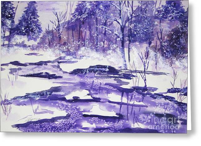 Greeting Card featuring the painting Purple Ice On Kaaterskill Creek by Ellen Levinson