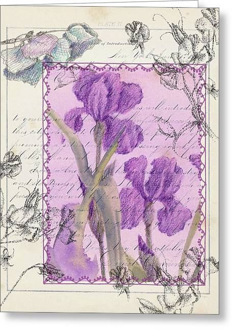 Greeting Card featuring the drawing Purple Iris by Cathie Richardson