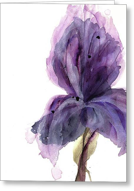 Purple Iris Greeting Card by Dawn Derman