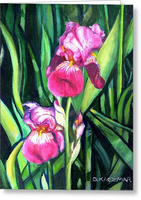 Purple Iris Greeting Card by Olga Kaczmar