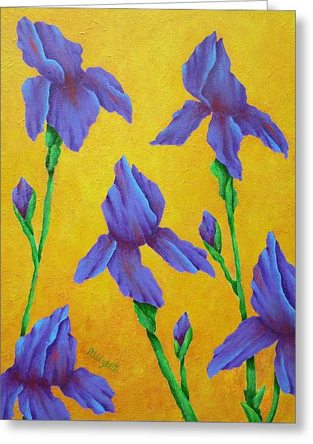 Purple Iris Greeting Card by Pamela Allegretto