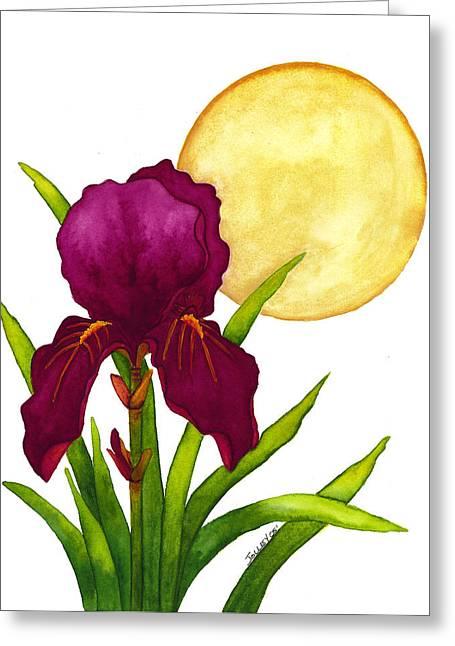 Purple Iris Greeting Card by Stephanie  Jolley