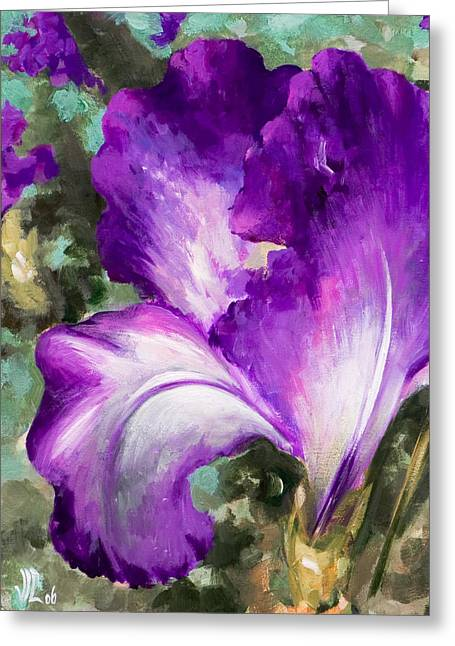 Purple Iris Greeting Card by Vali Irina Ciobanu
