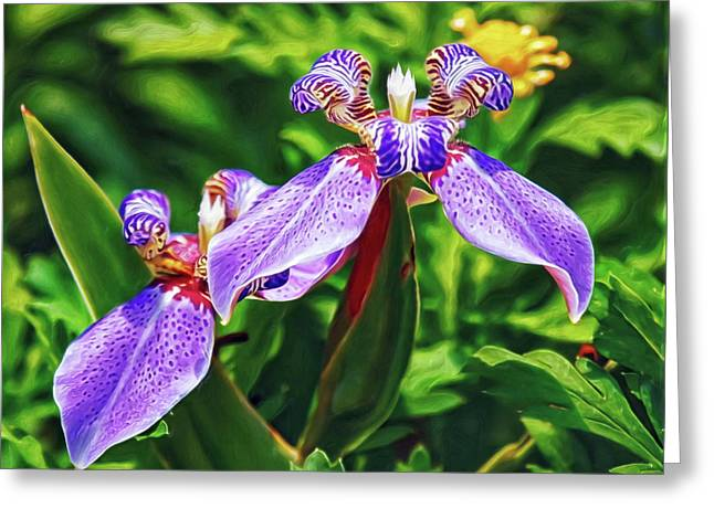 Greeting Card featuring the digital art Purple Irises by Doctor Mehta
