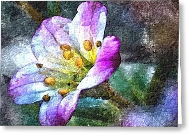 Purple Joy Greeting Card by Jacqueline Schreiber
