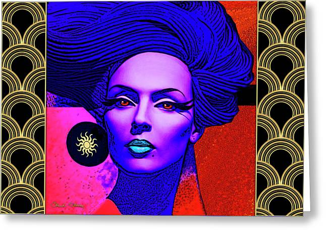 Greeting Card featuring the digital art Purple Lady - Deco by Chuck Staley