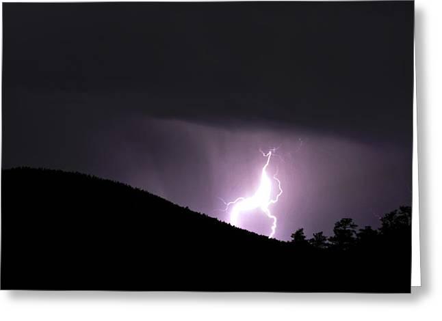 Purple Lightning Greeting Card by Matthew Fredricey