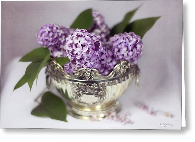 Purple Lilacs In Silver Bowl Greeting Card
