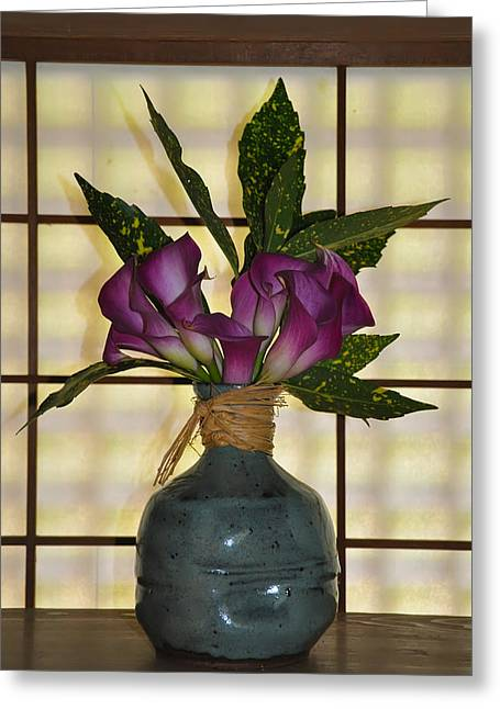 Purple Lilies In Japanese Vase Greeting Card by Bill Cannon