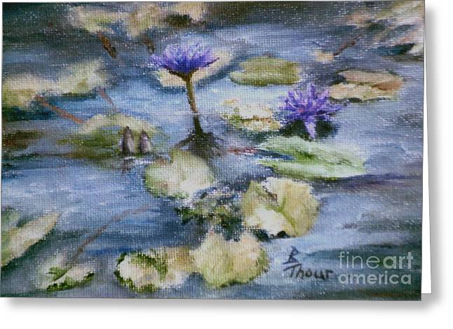 Greeting Card featuring the painting Purple Lily by Brenda Thour