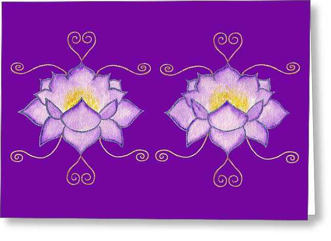 Greeting Card featuring the mixed media Purple Lotus by Elizabeth Lock