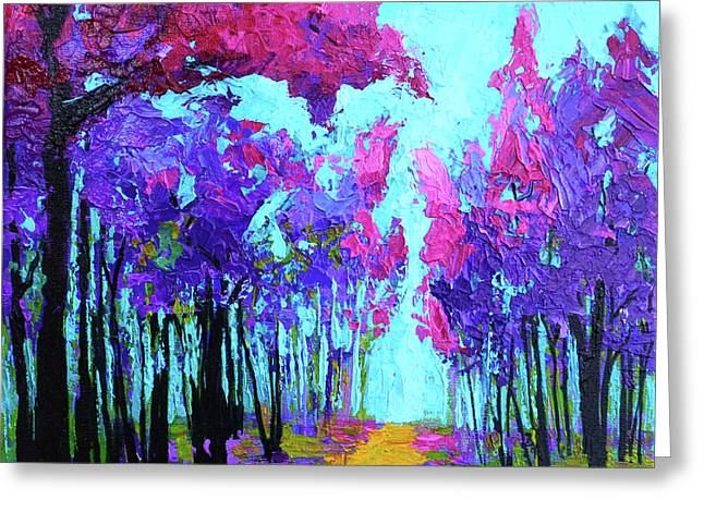 Greeting Card featuring the painting Purple Magenta, Forest, Modern Impressionist, Palette Knife Painting by Patricia Awapara