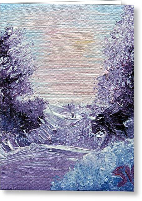 Bob Ross Paintings Greeting Cards - Purple Majesty Landscape Greeting Card by Jera Sky