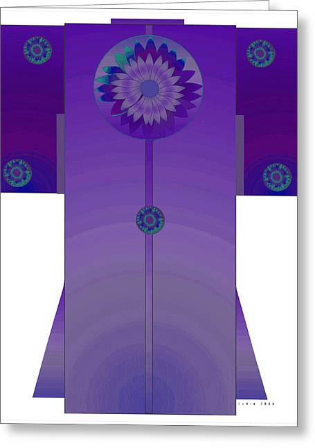 Purple Mandala Kimono Greeting Card by Lydia L Kramer