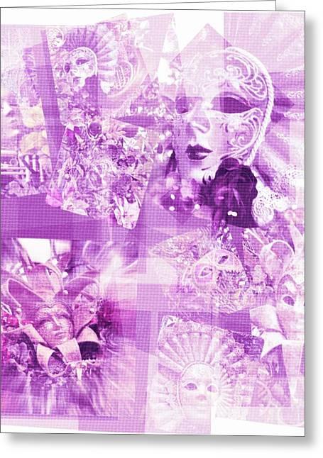 Purple Mask Craziness Greeting Card by Amanda Eberly-Kudamik