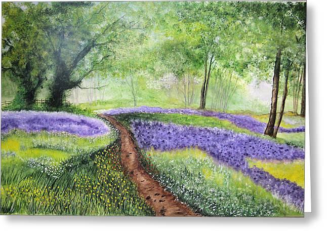 Purple Meadow Greeting Card by Maris Sherwood