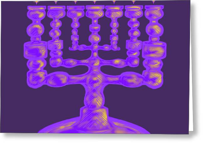 Purple Menorah Flamed Greeting Card