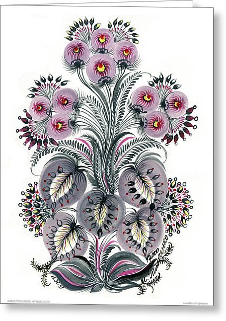 Purple Mood Greeting Card by Marfa Tymchenko