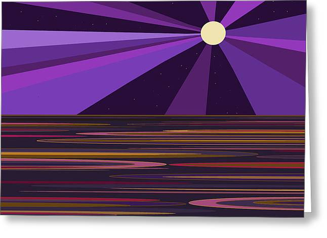 Purple Moonbeams Greeting Card