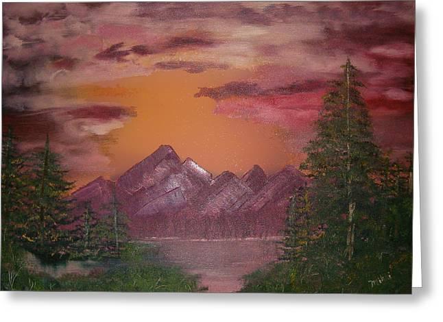 Purple Mountain Greeting Card by Mikki Alhart