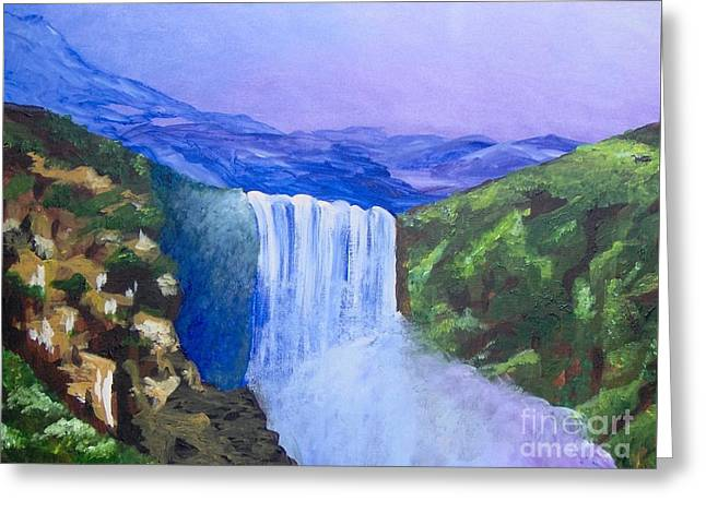 Greeting Card featuring the painting Purple Mountains by Saundra Johnson