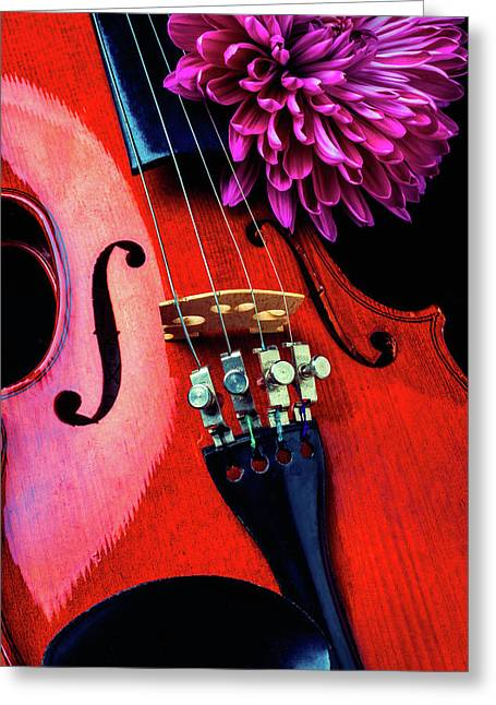 Purple Mum And Violin Greeting Card