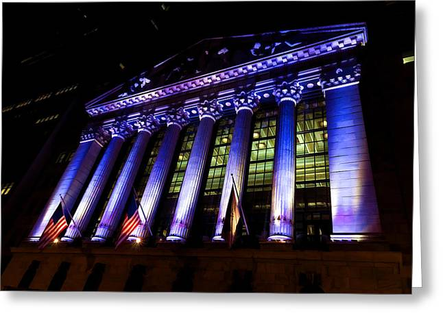 Purple New York Stock Exchange At Night - Impressions Of Manhattan Greeting Card