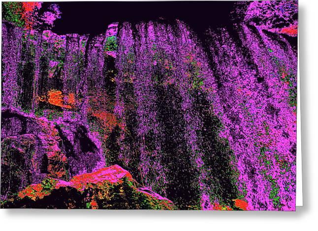 Purple Night Waterfall Greeting Card by Erika Swartzkopf