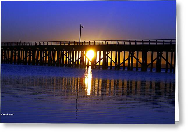 Purple Ocean Sunrise Greeting Card by Gary Crockett