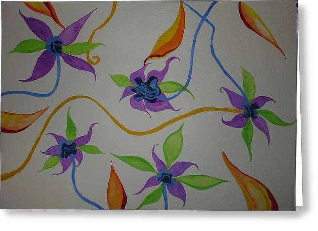 Greeting Card featuring the painting Purple-orange Flowers by Erika Swartzkopf