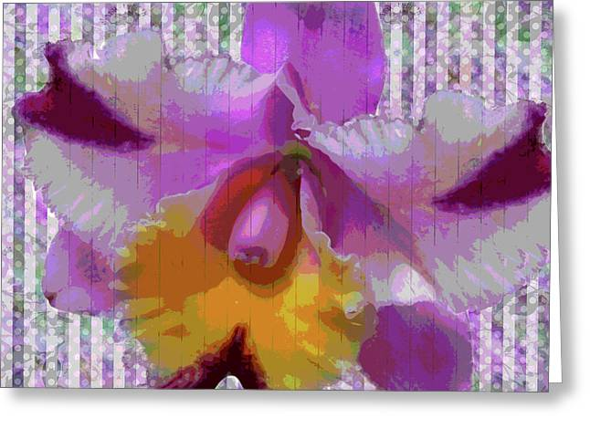 Purple Orchid Design Greeting Card
