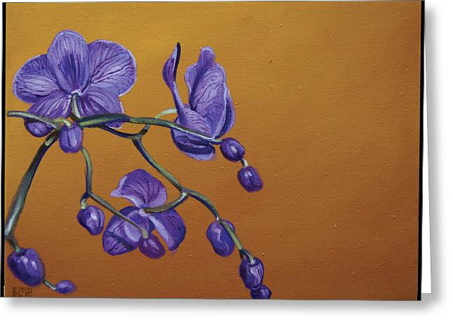 Purple Orchids Greeting Card by Edward Williams